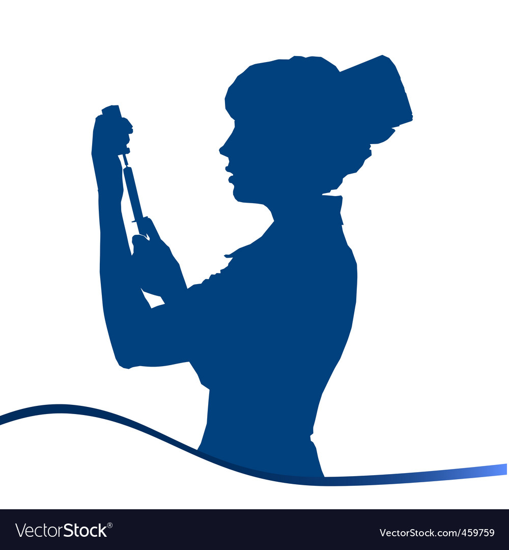 Assistant silhouette blue on white