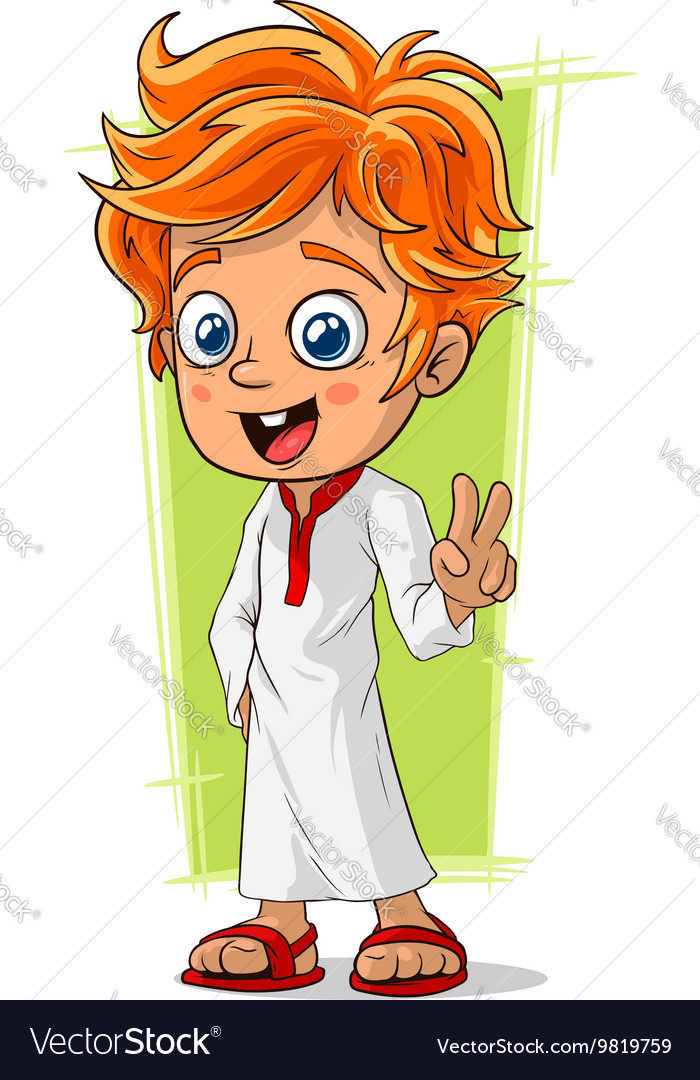 Cartoon cute redhead boy with blue eyes vector image