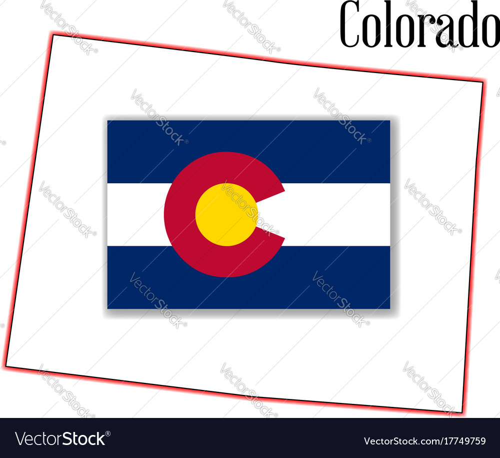 Colorado state map and flag