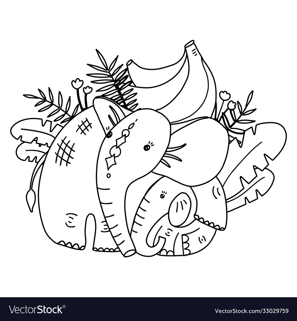 Coloring page for kids with cute mother elephant