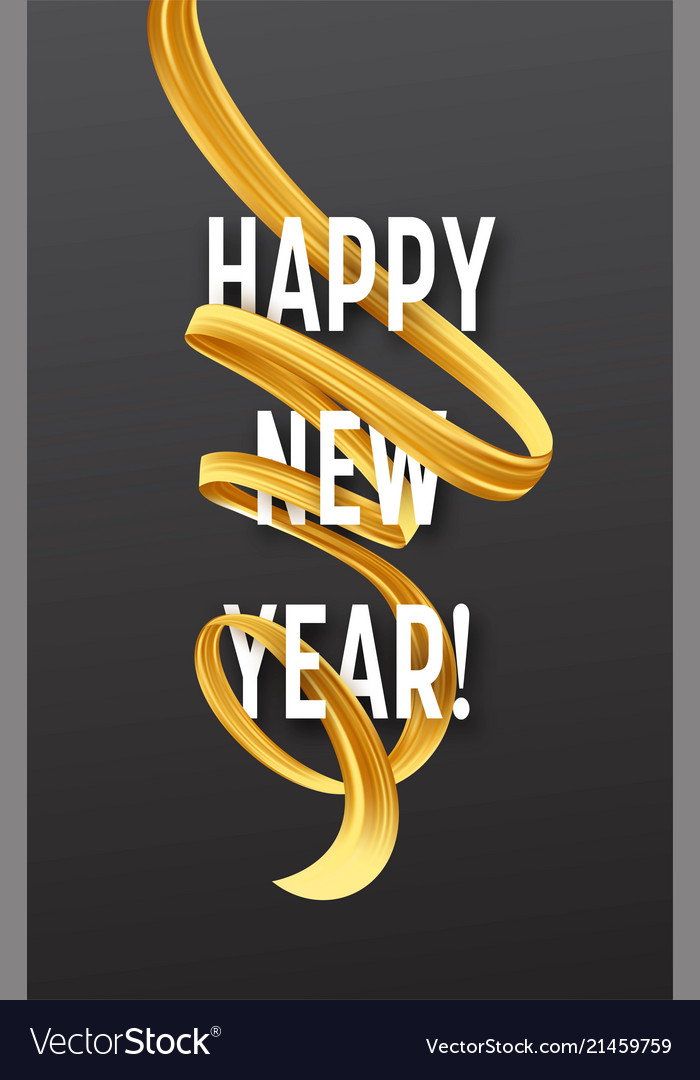 Happy new year with golden serpentine streamers