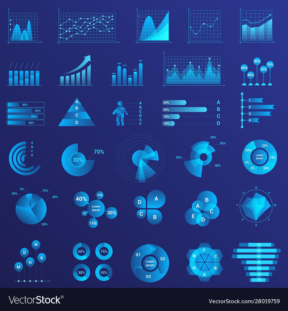 Infographics flat neon light set