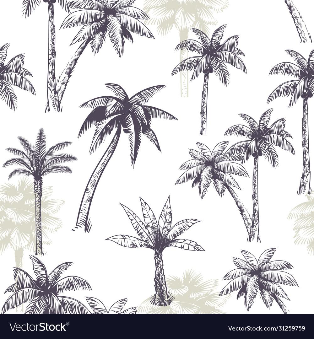 Palm tree seamless pattern beautiful island