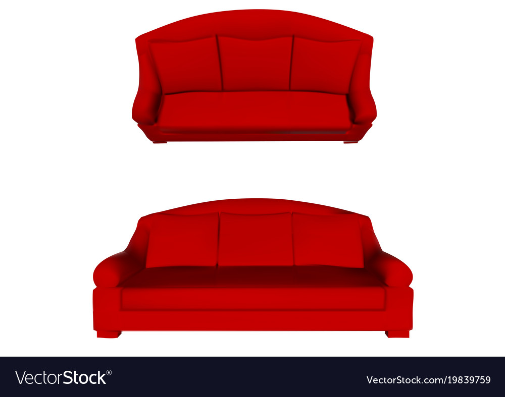 Red Sofa Top And Front View Royalty Free Vector Image
