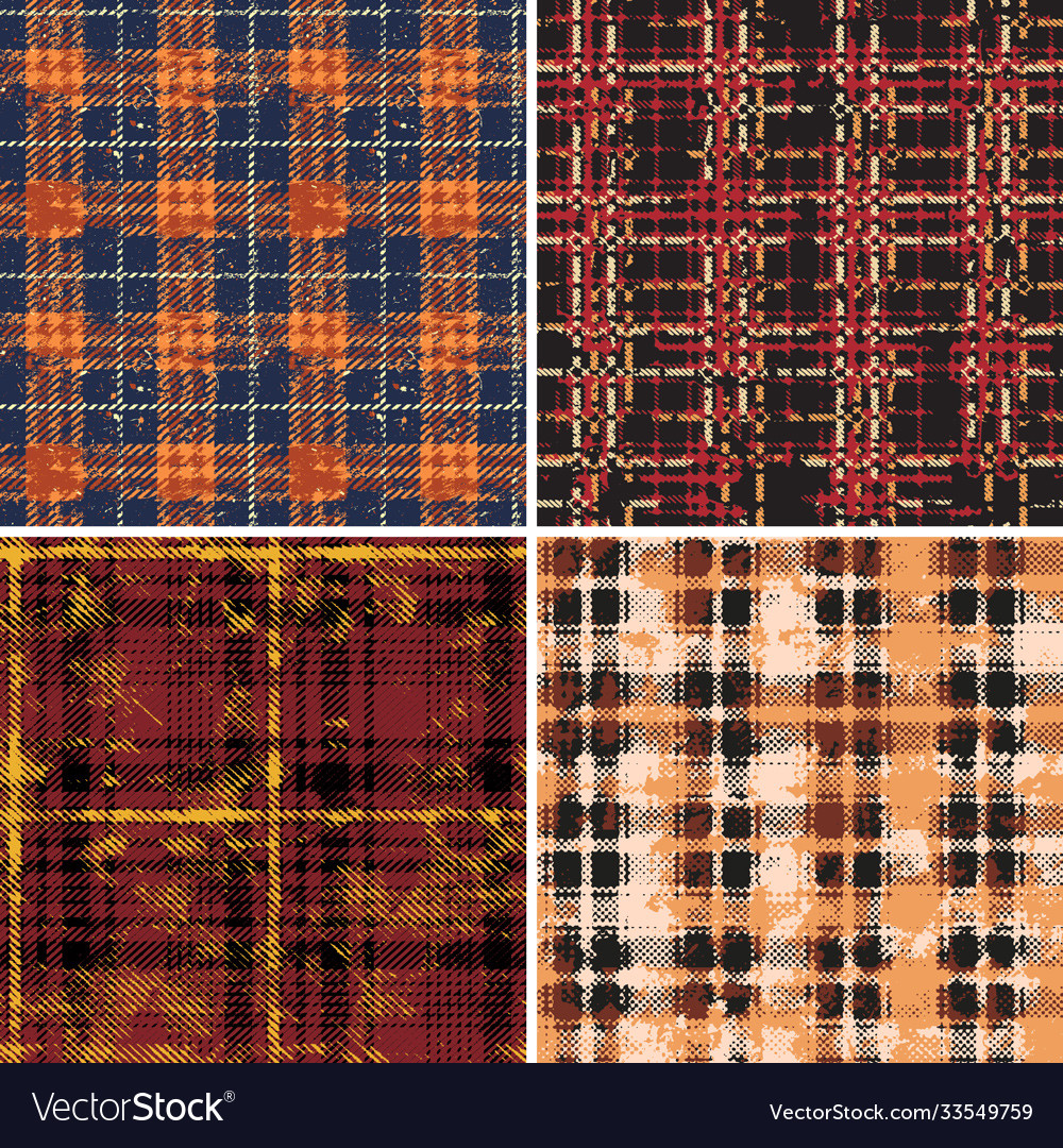 Scottish tartan plaid fabric collection vector