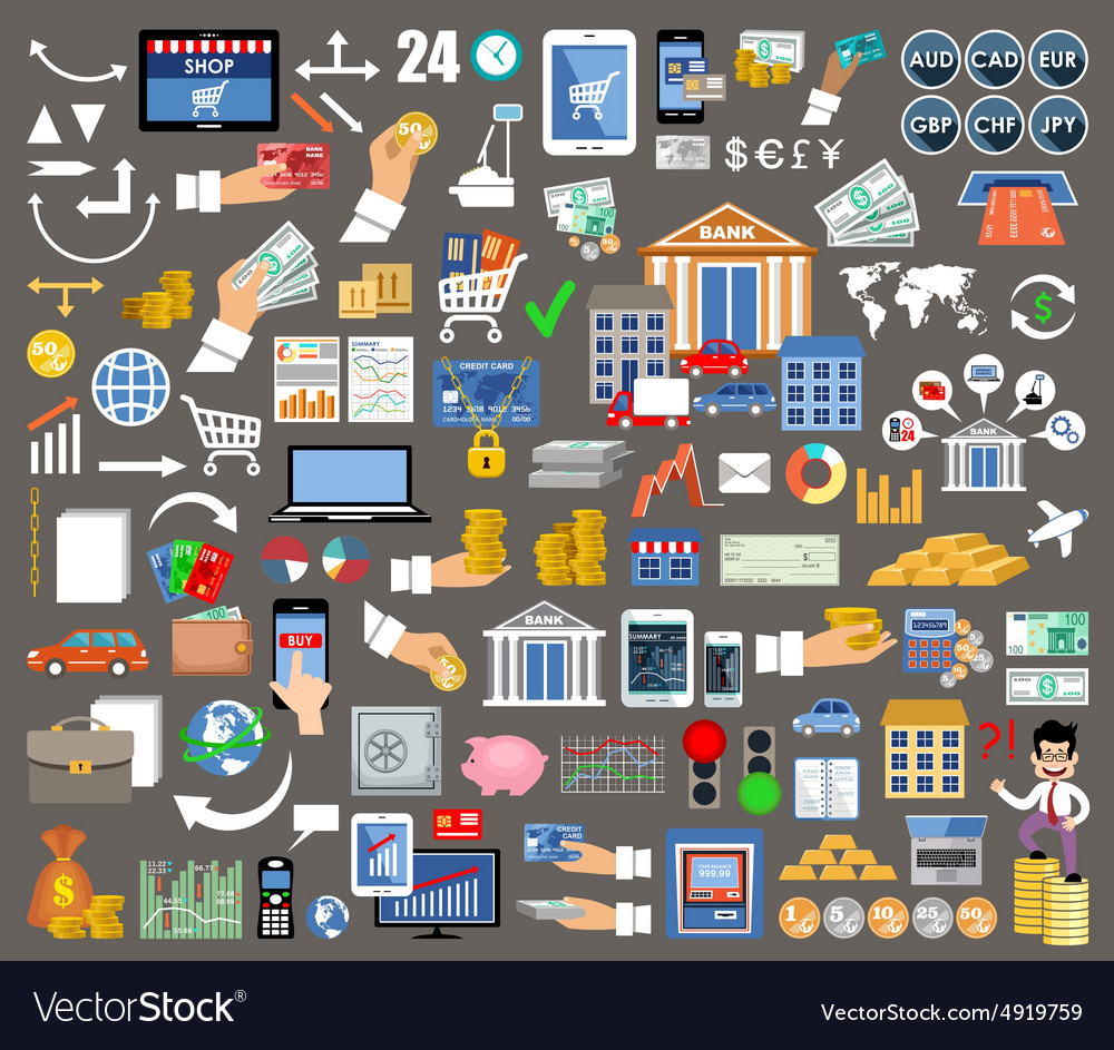 Set of flat design icons for internet banking vector image
