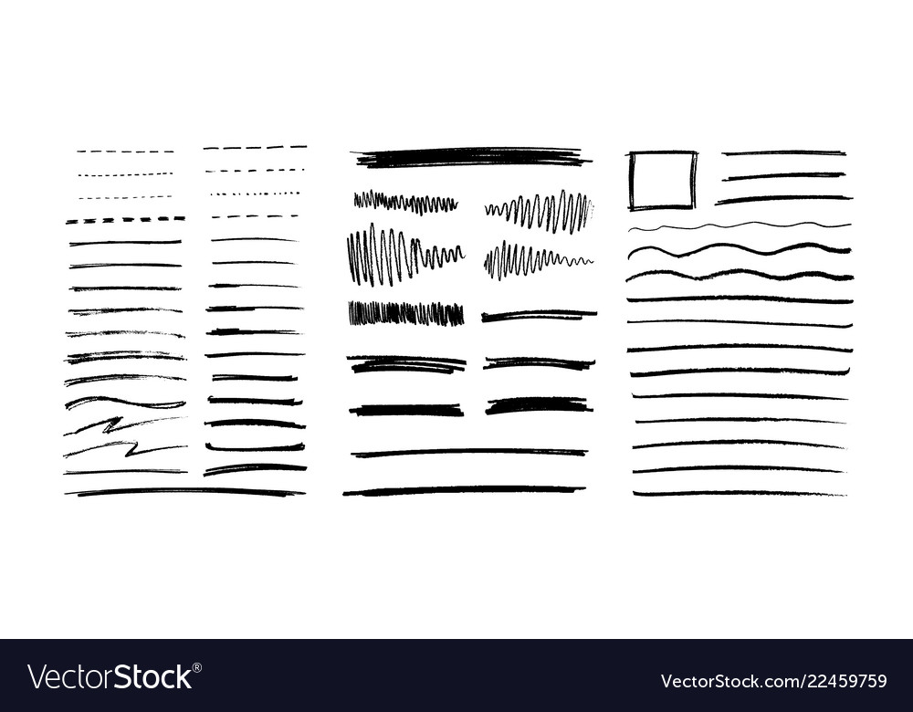 Set of grungy graphite pencil art brushes pencil