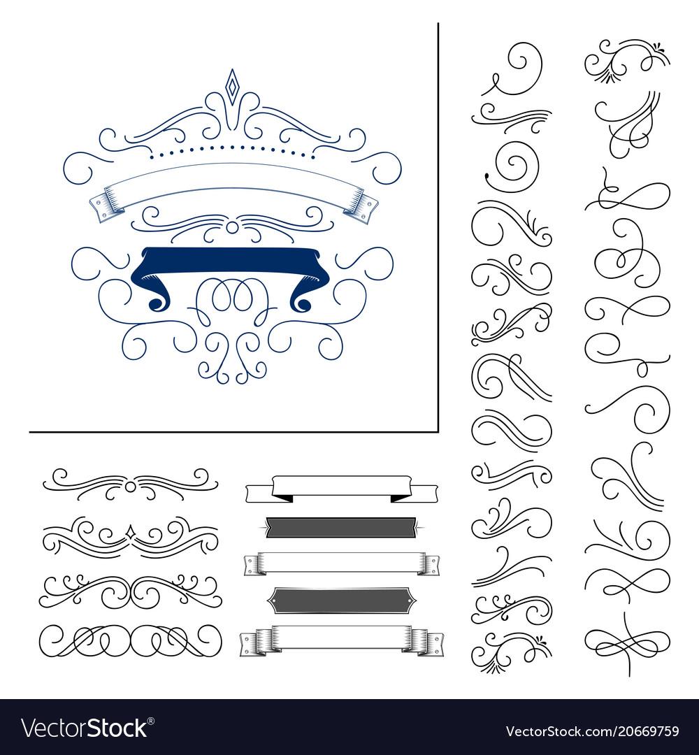 Set of hand drawn flourish elements vector image