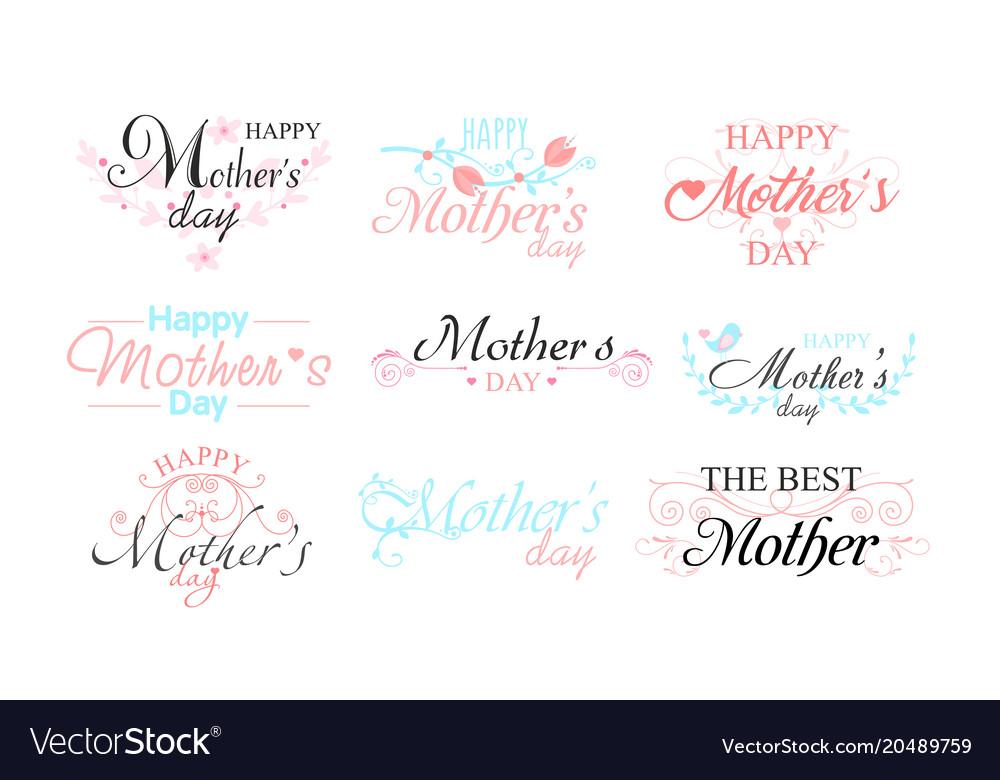 Set of nine beautiful mothers
