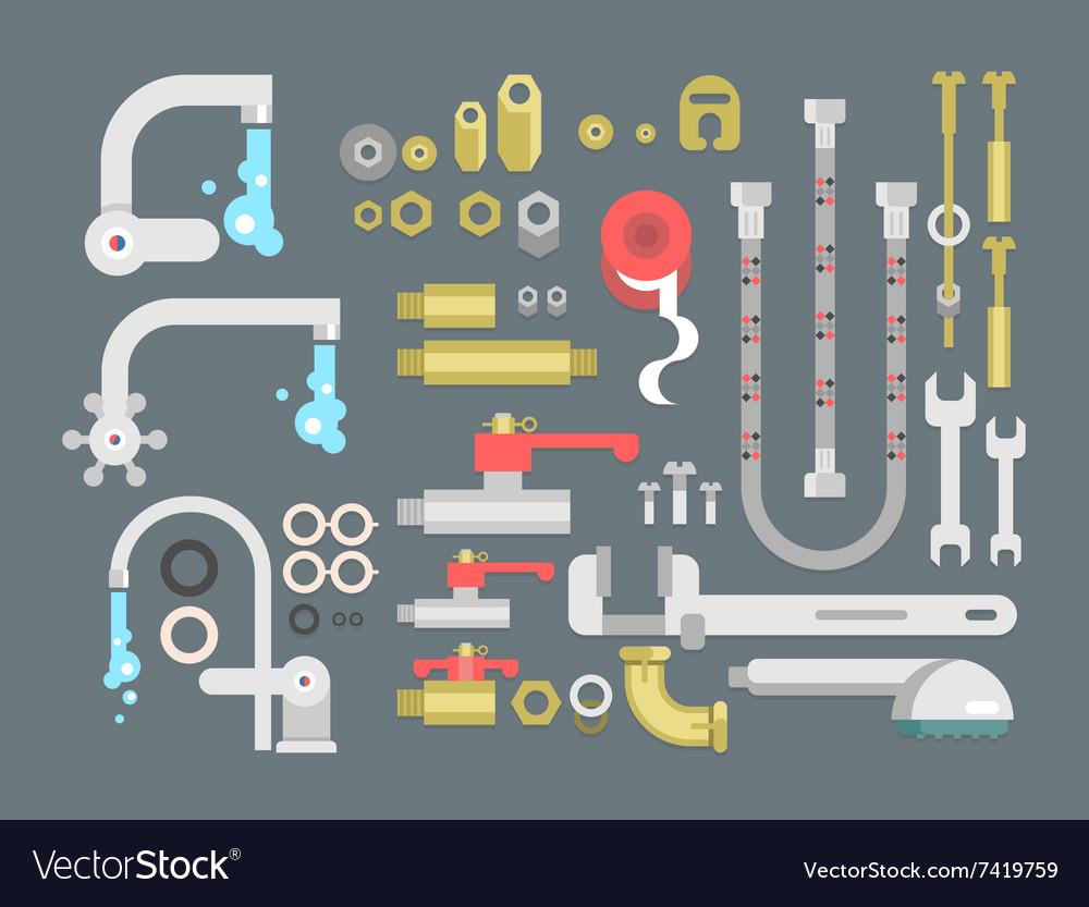 Set plumbing parts vector image