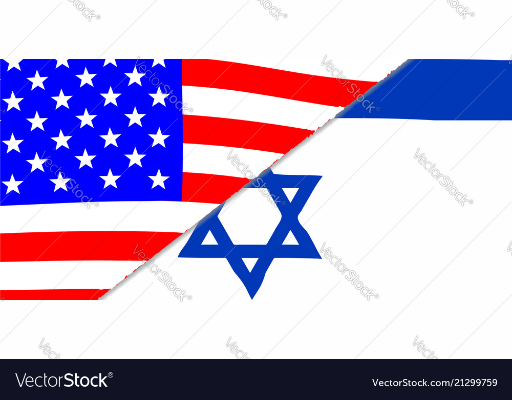 Usa and jewish flags