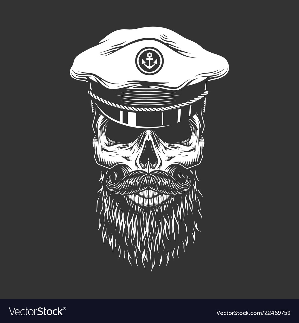 Vintage skull in sea captain cap