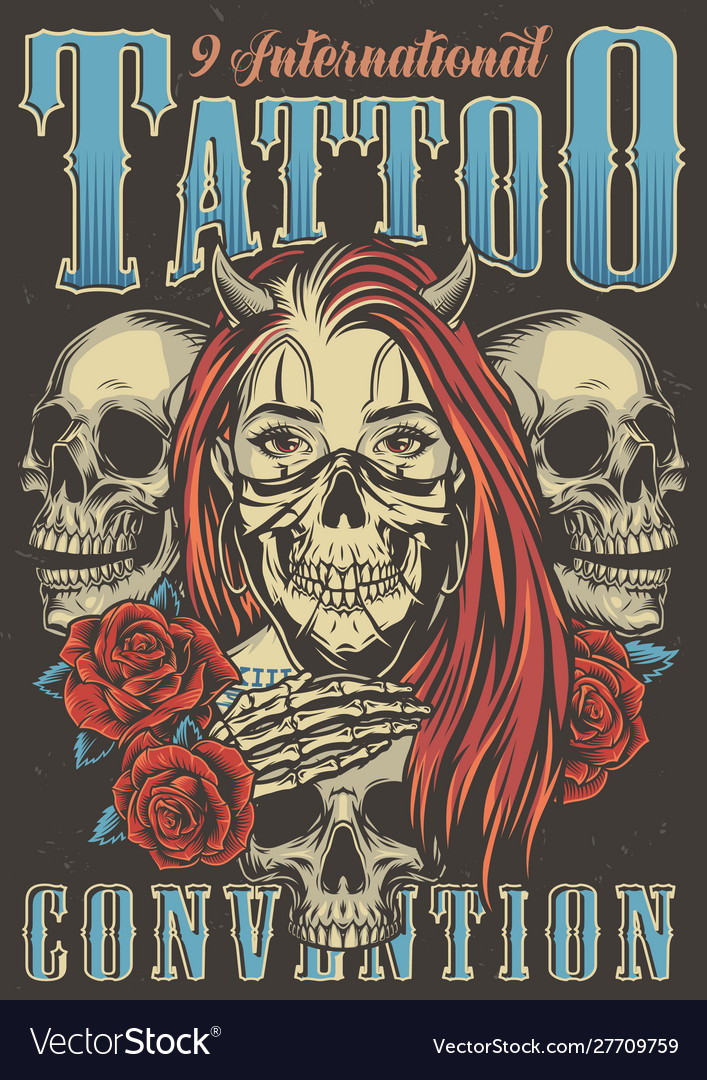 Vintage tattoo convention advertising poster