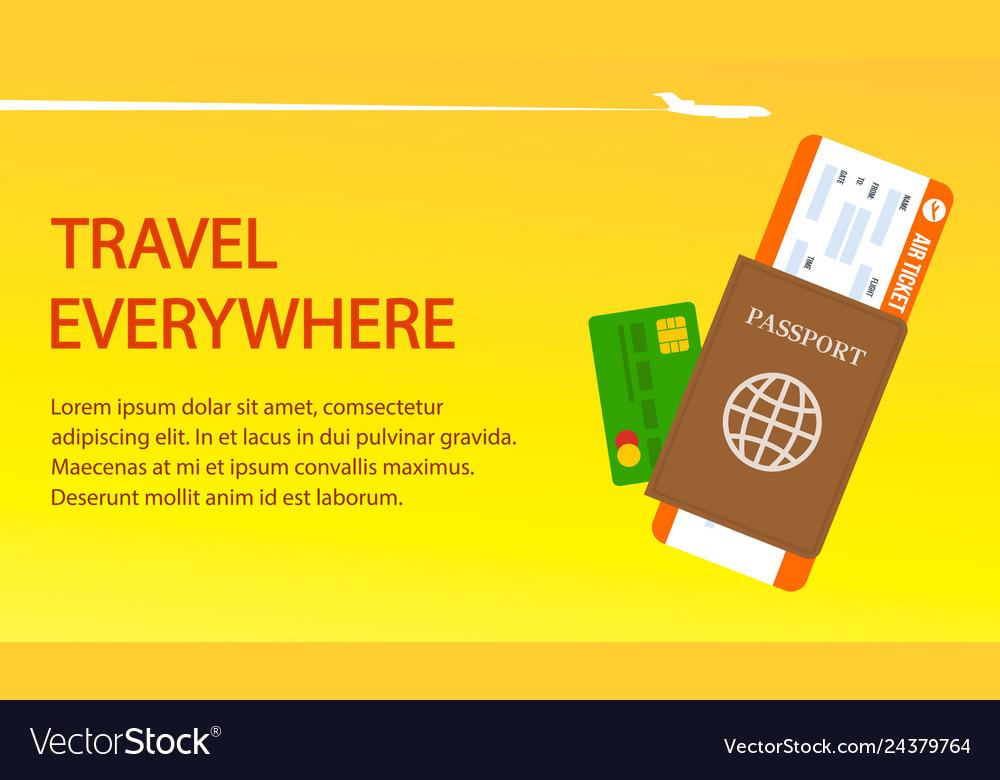 Air ticket passport visa banner template