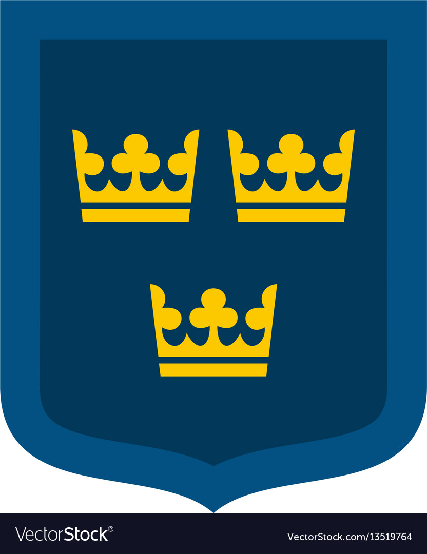 Coat of arms of sweden icon flat style
