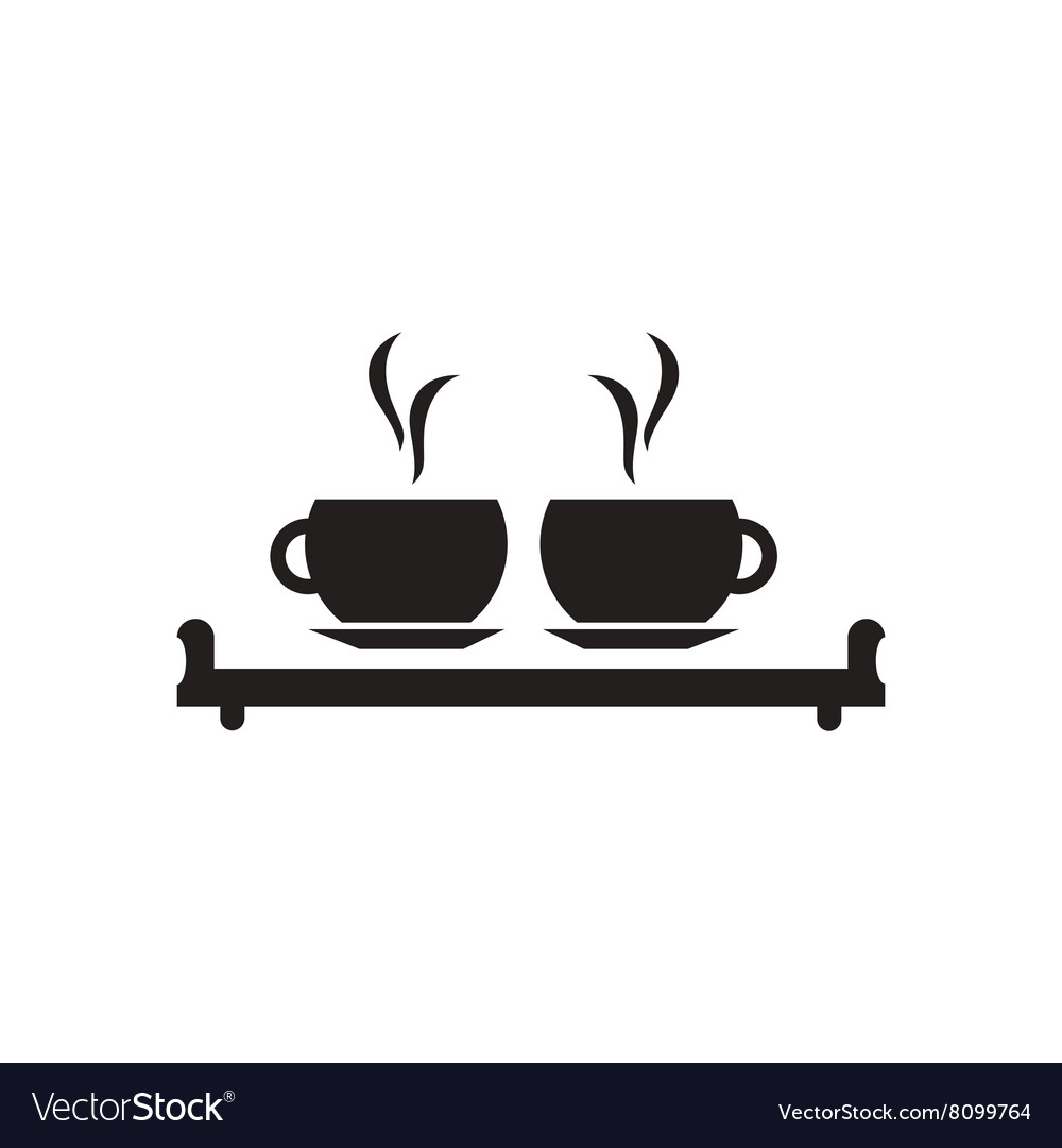 Flat icon in black and white couple cups