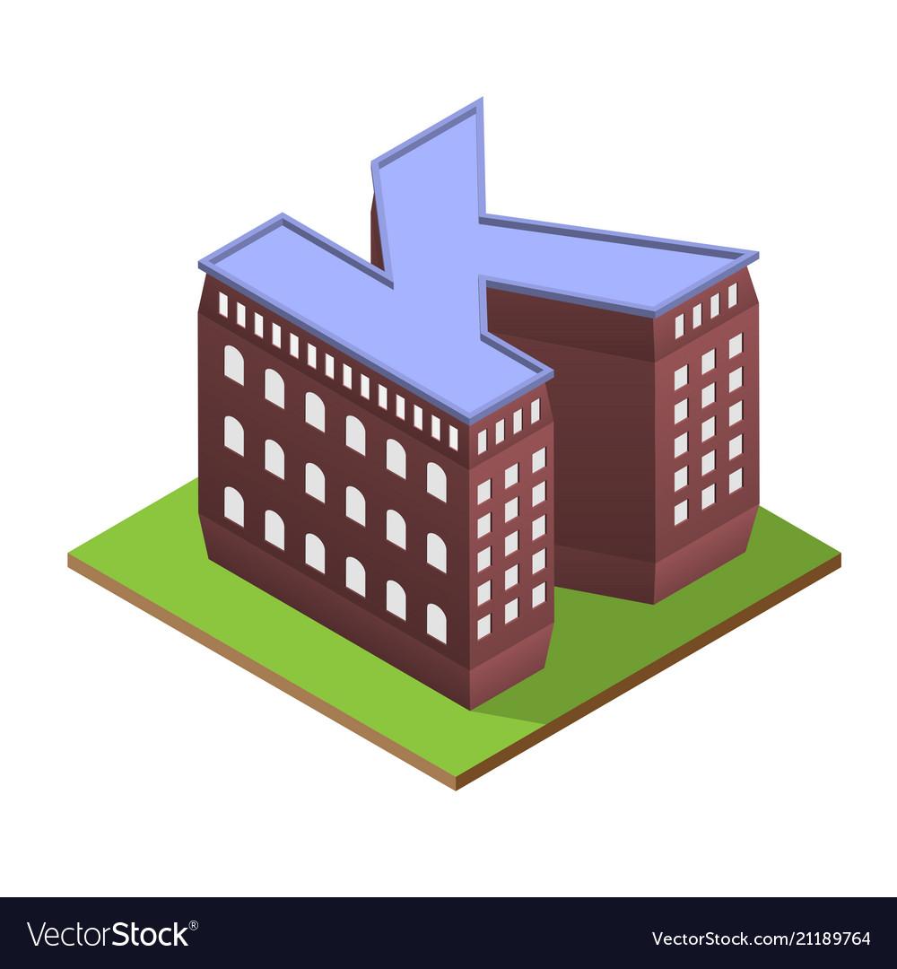 Isometric building letter k form