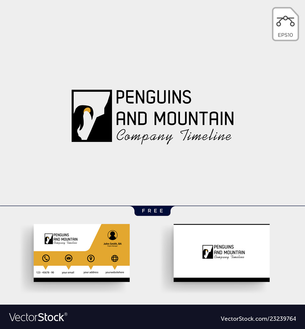 Penguin and mountain logo template and business