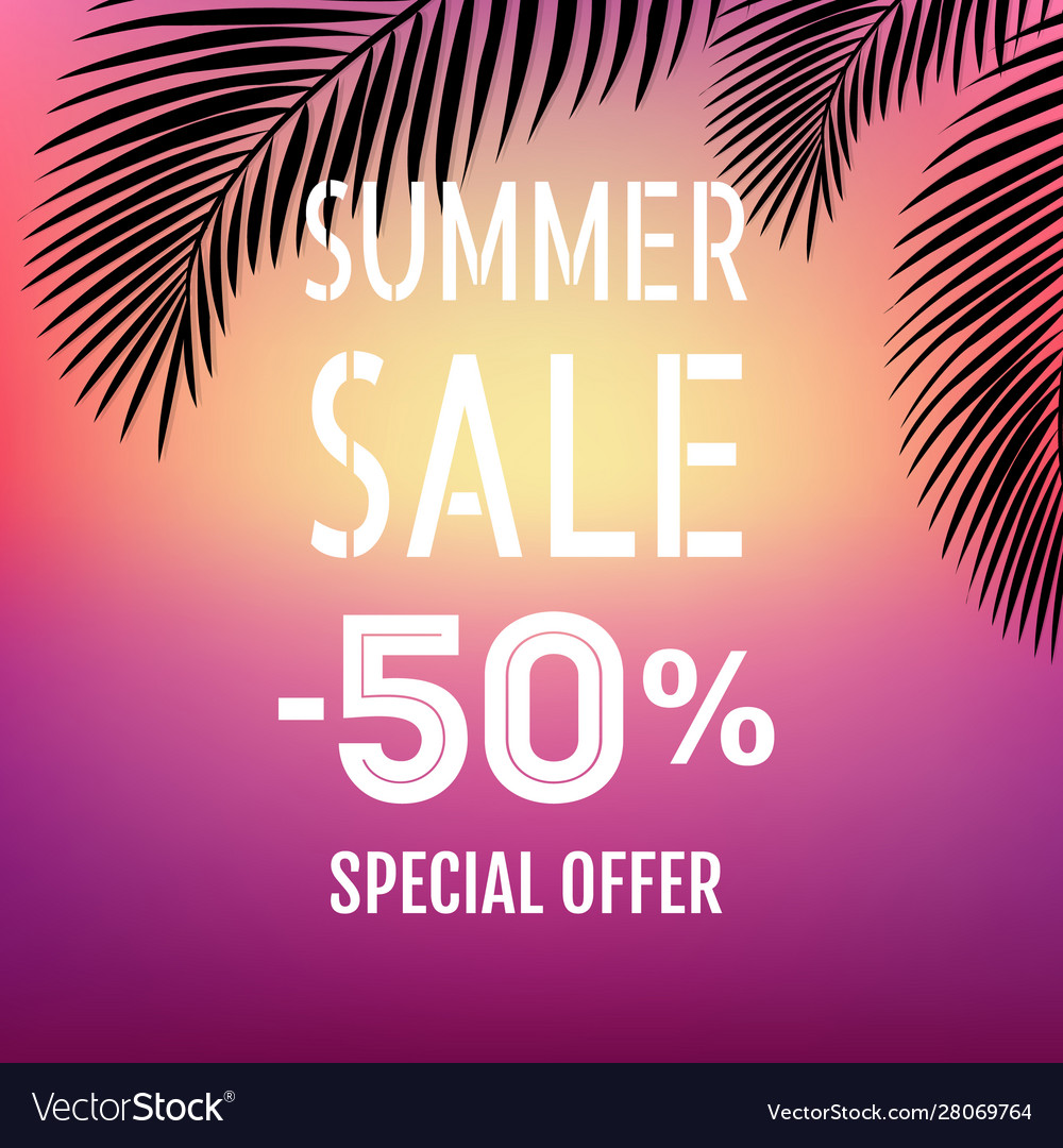 Summer sale banner with palm leaf isolated