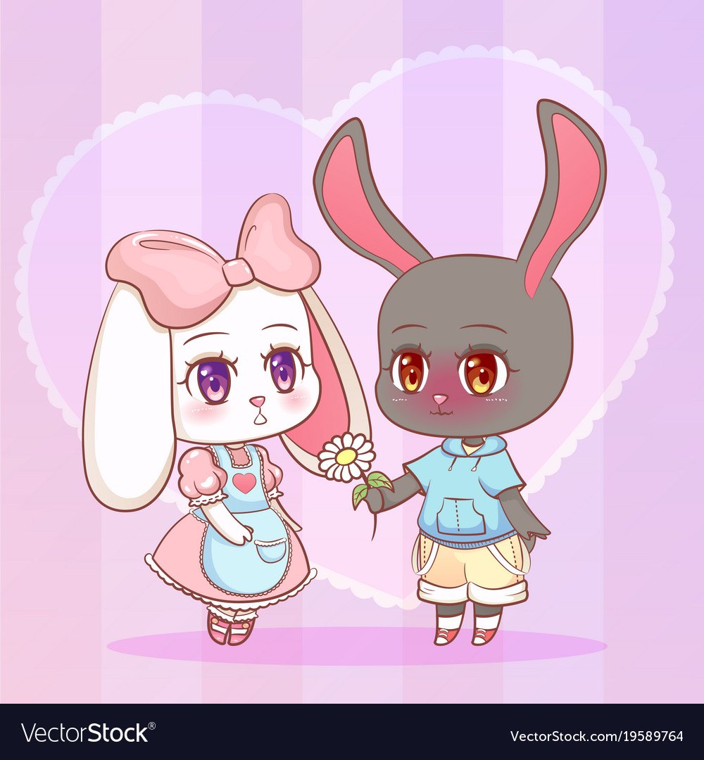 Sweet little cute kawaii anime cartoon puppy bunny vector image