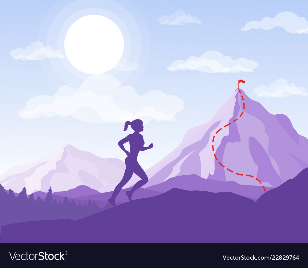 Woman running to the point