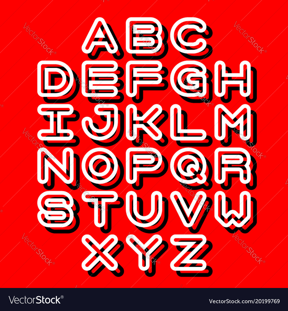 3d outline font and alphabet