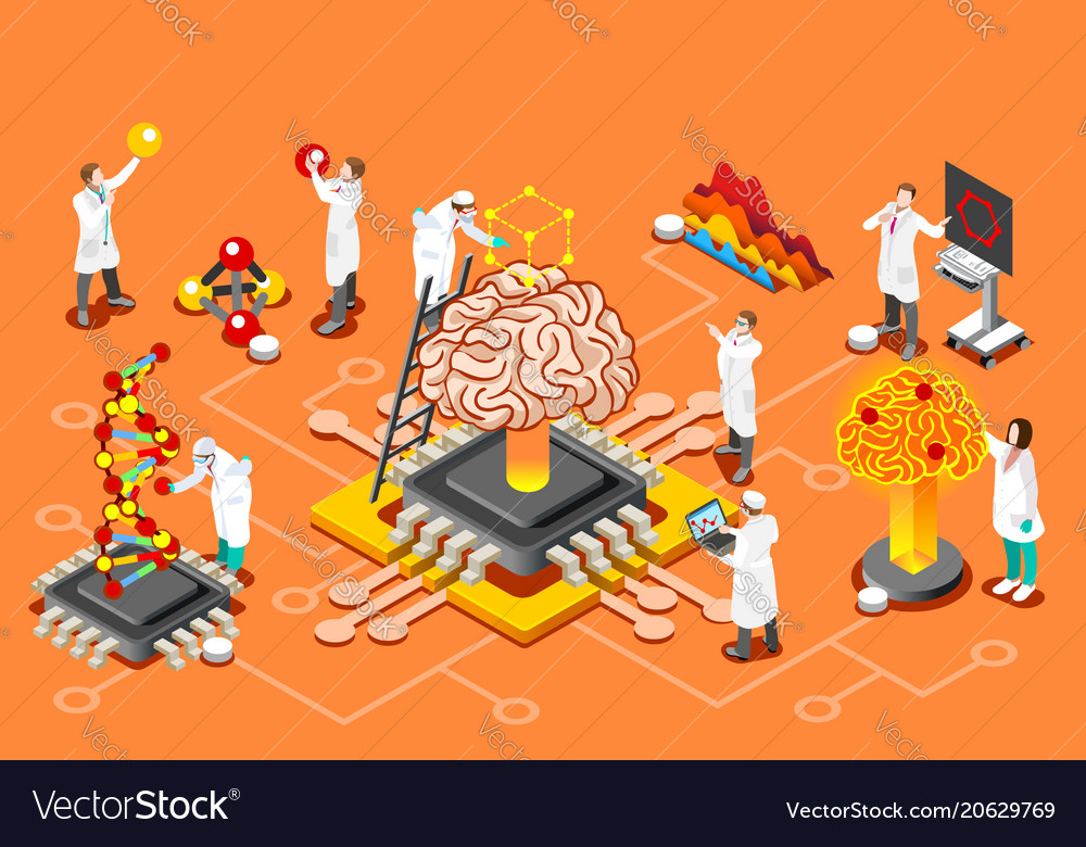 Artificial intelligence isometric images