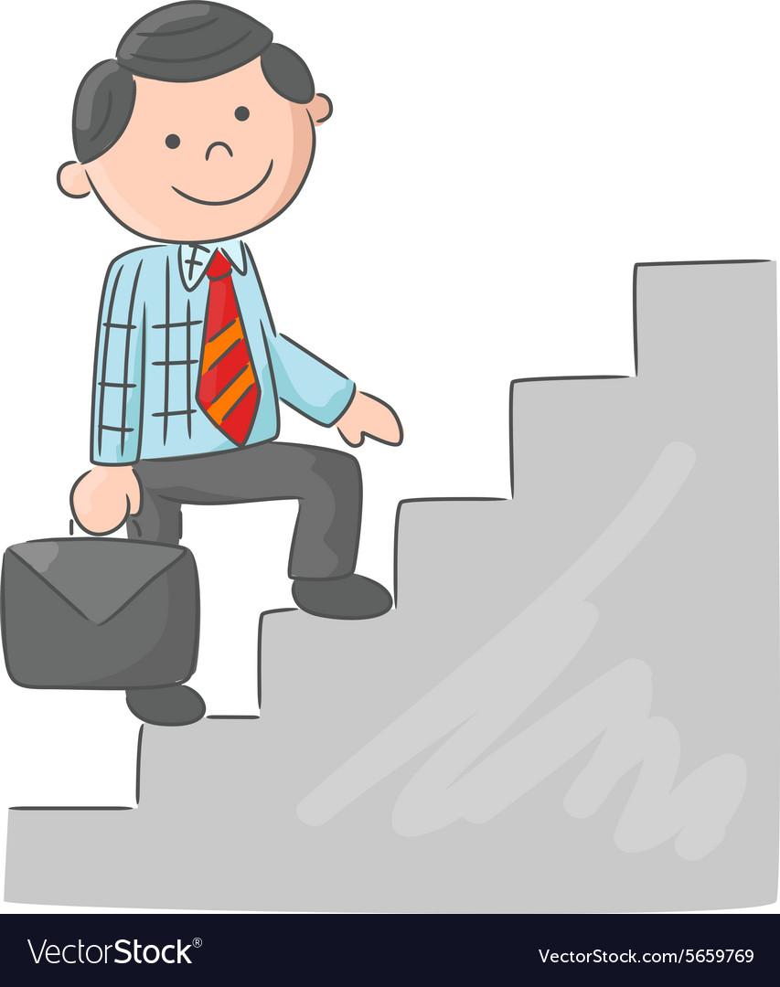 Cartoon Man Climbing Stairs Royalty Free Vector Image