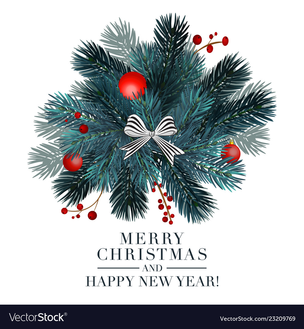 Christmas 2019 greeting card with fir ball and re