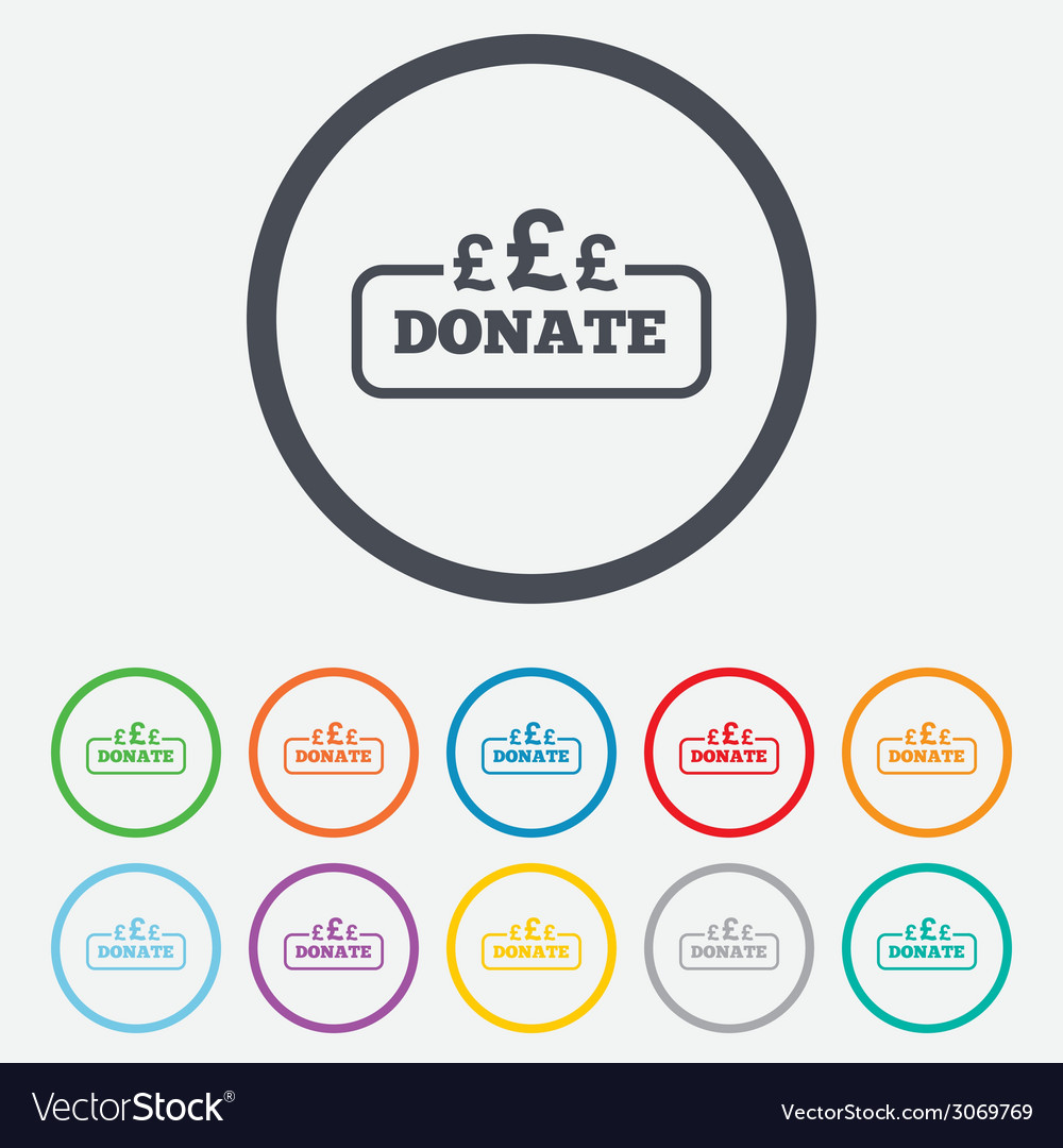 Donate Sign Icon Pounds Gbp Symbol Royalty Free Vector Image