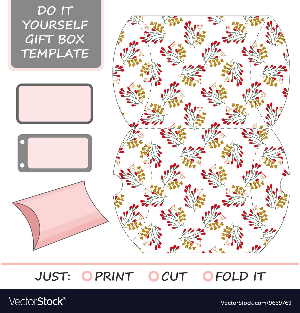 Favor gift box die cut Box template vector image