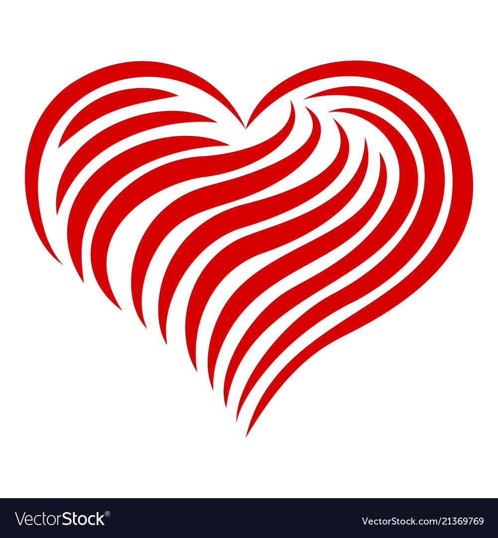 Heart abstract line icon simple style