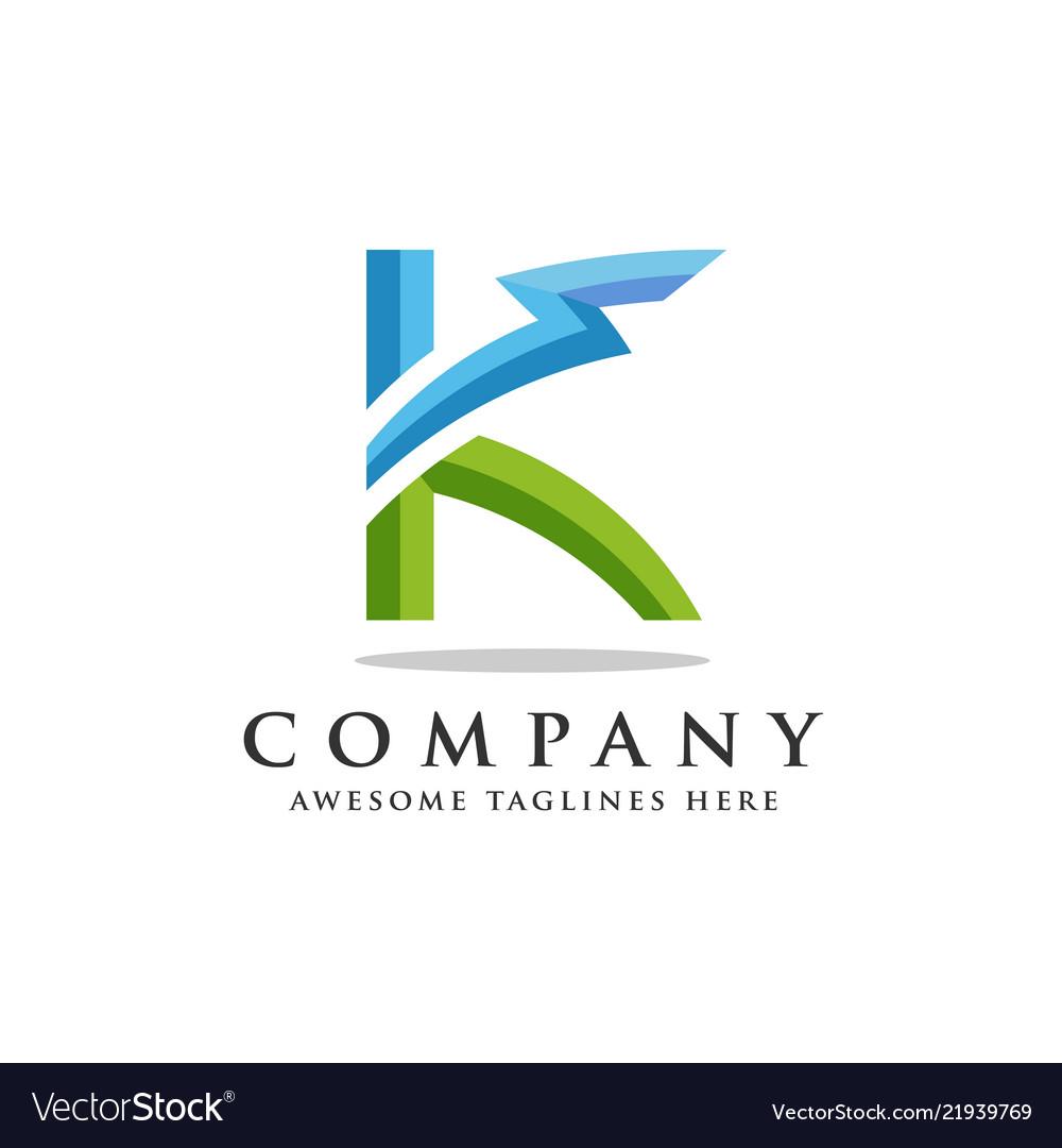 Letter k lightning logo icon design template
