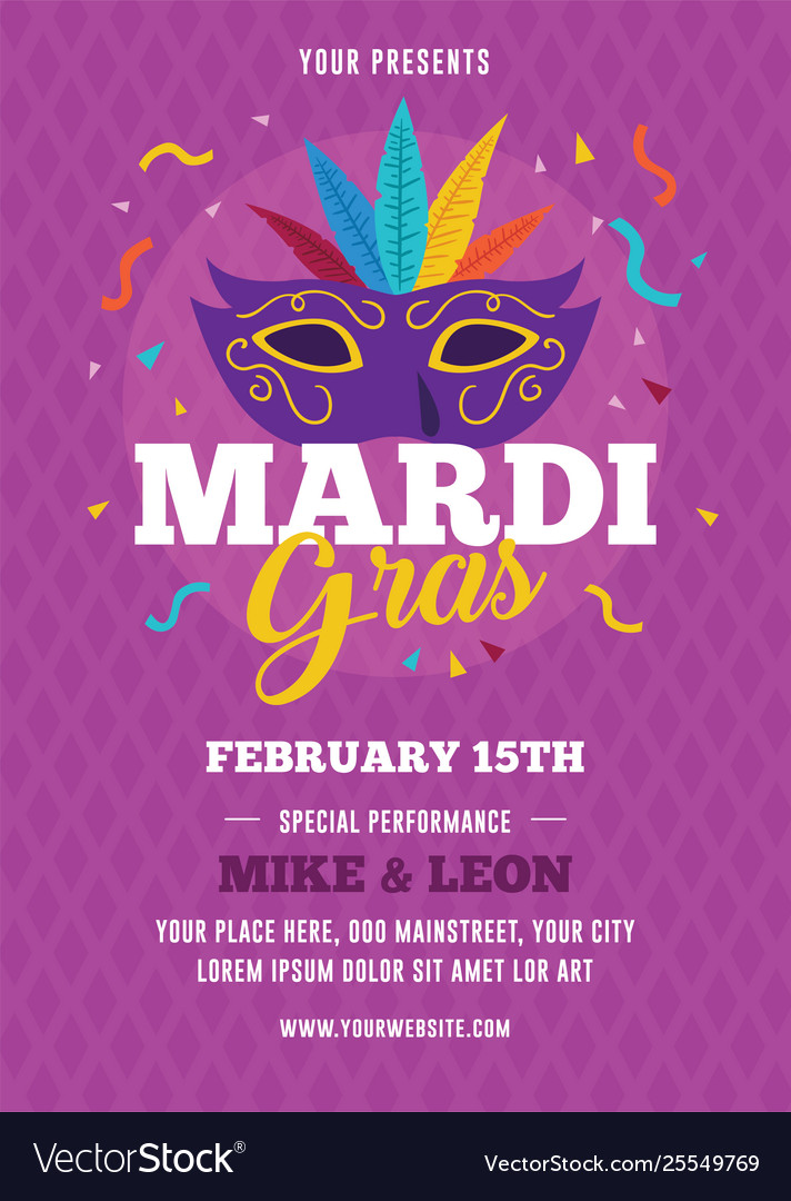 Mardi Gras Flyer Template from cdn5.vectorstock.com