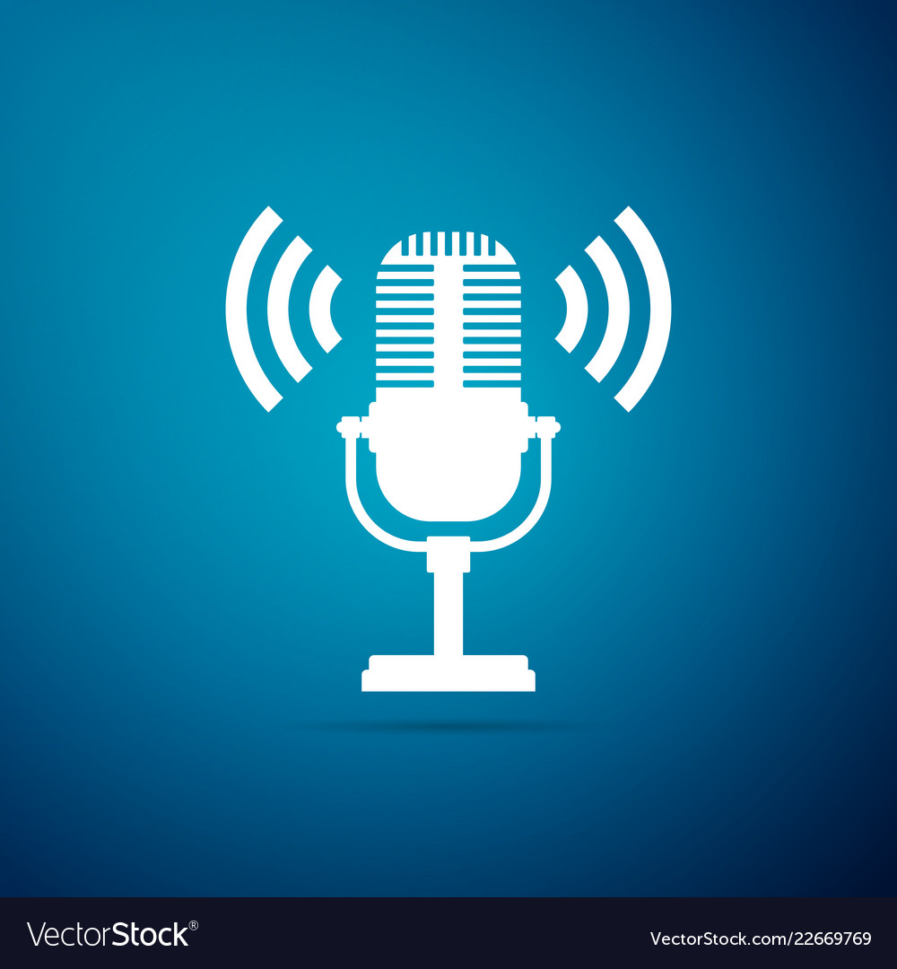 Microphone icon isolated on blue background