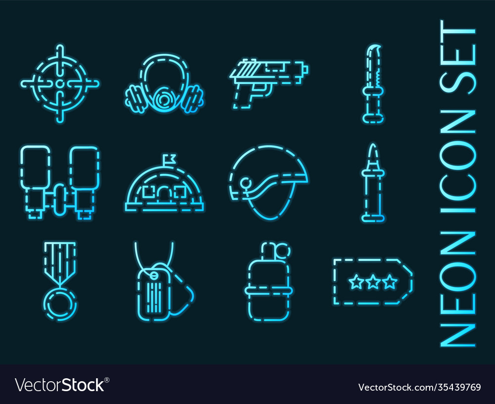 Military set icons blue glowing neon style