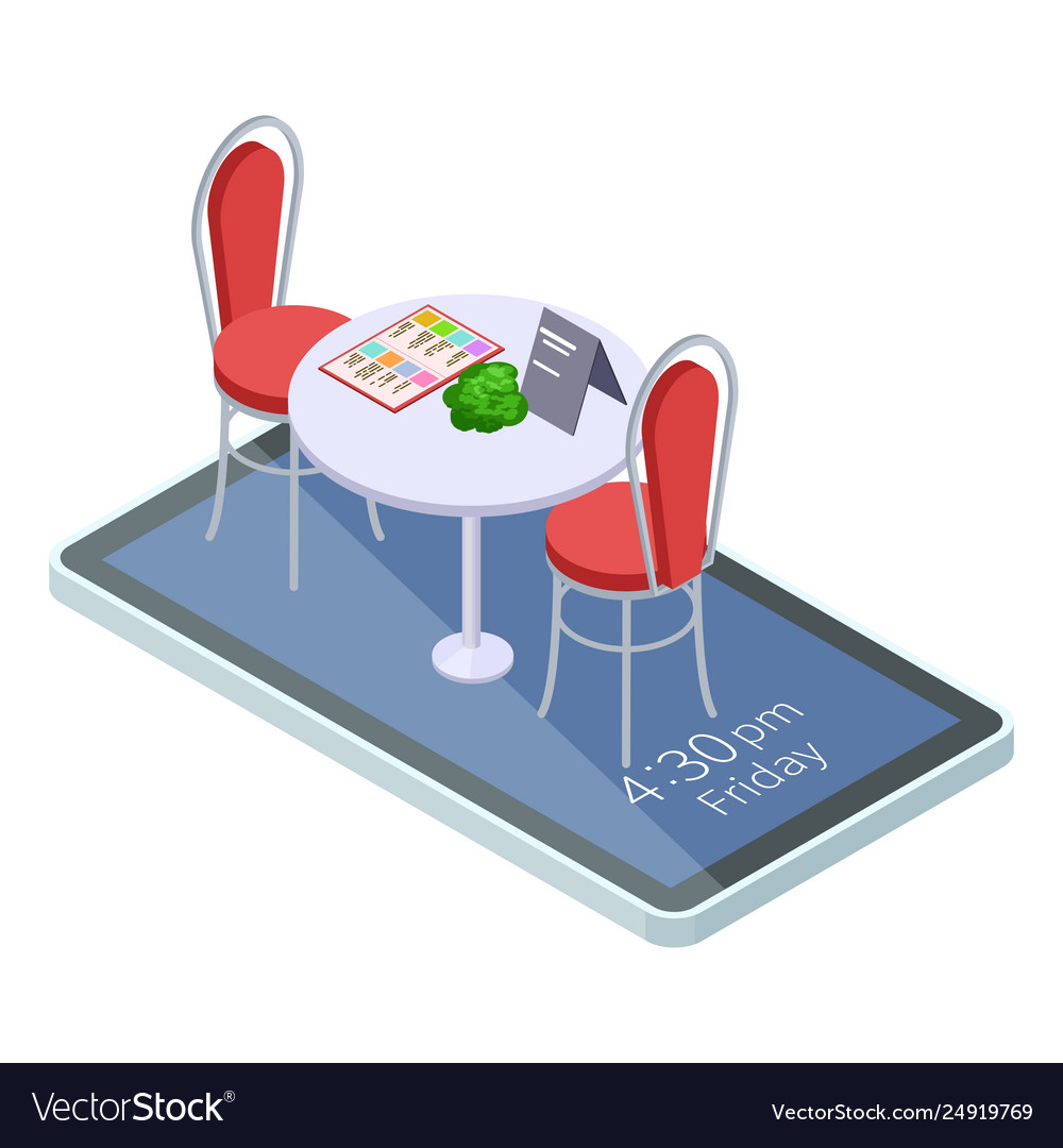 Online reserved table in cafe or restaurant with