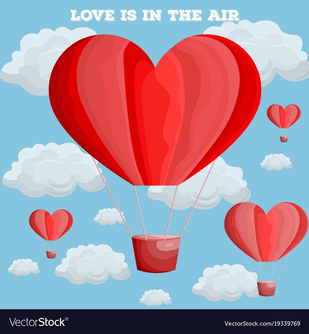 Red heart air balloon valentine day card