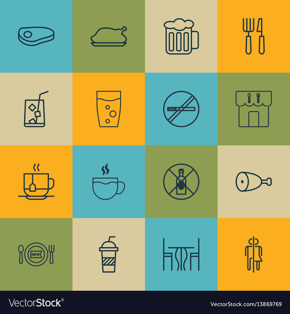 Set of 16 food icons includes restroom ale