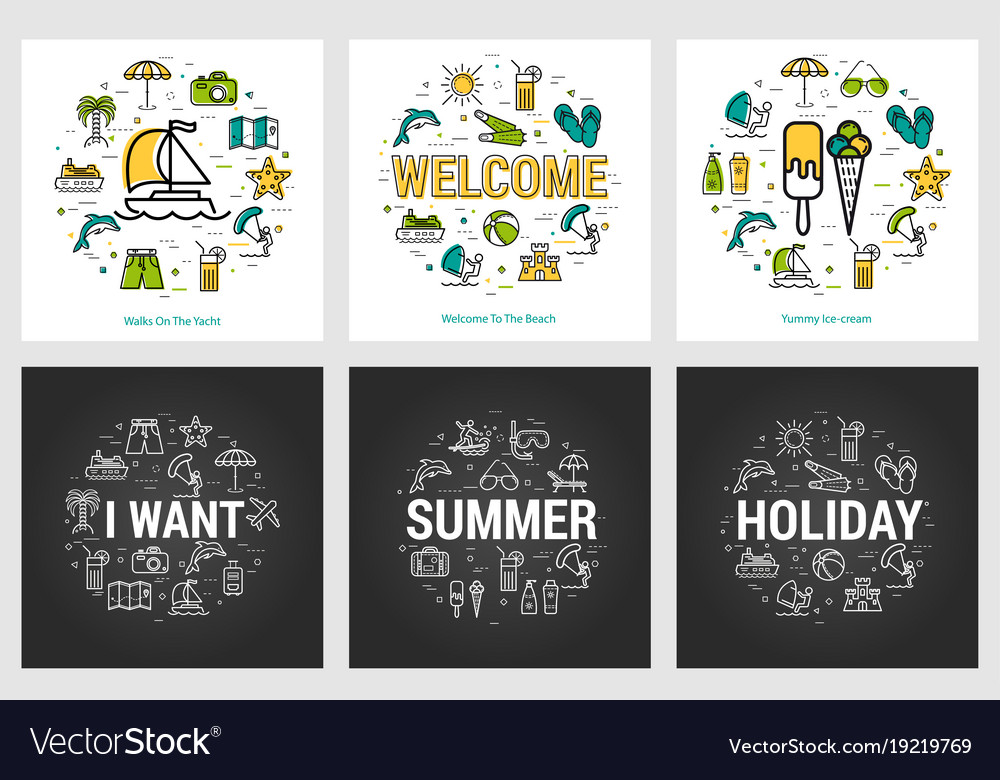 Summer round banners - trip and vacation