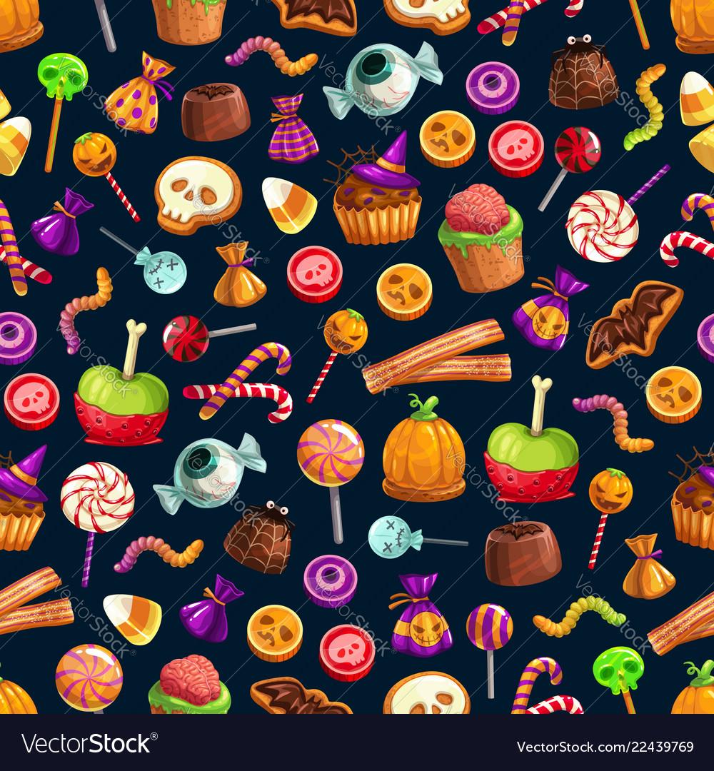 Sweet halloween treats seamless pattern