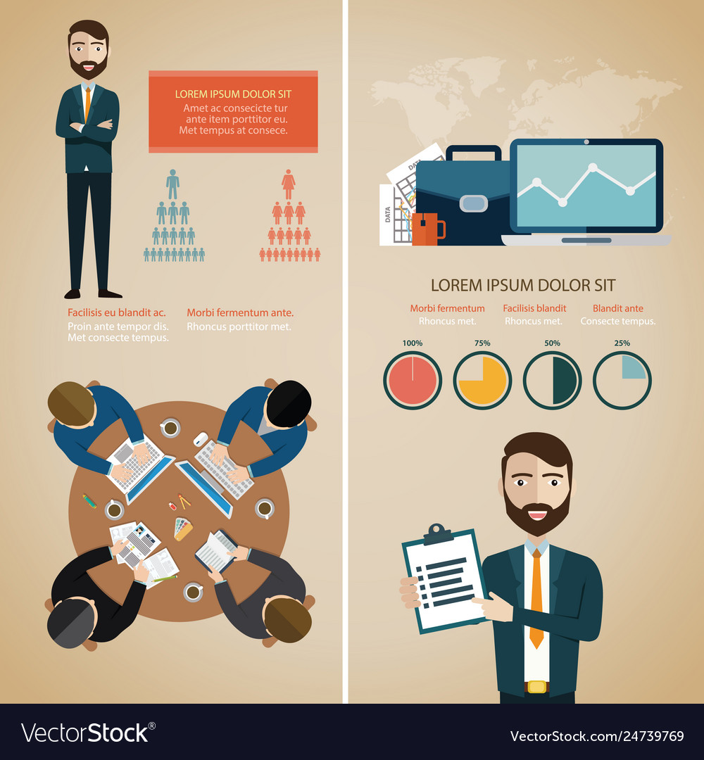Teamwork infographic set with business avatars and