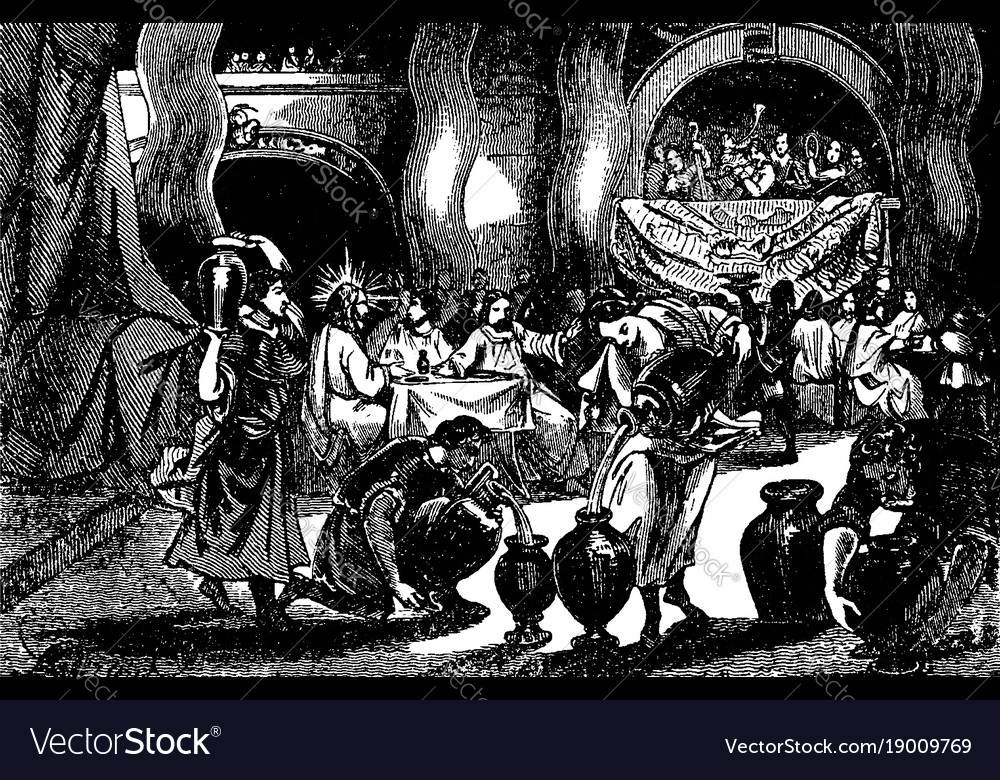 The wedding at cana where jesus turns water into vector image