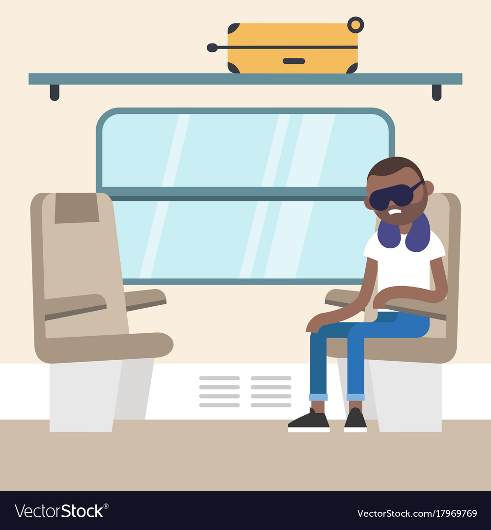 Young black passenger sitting in the train