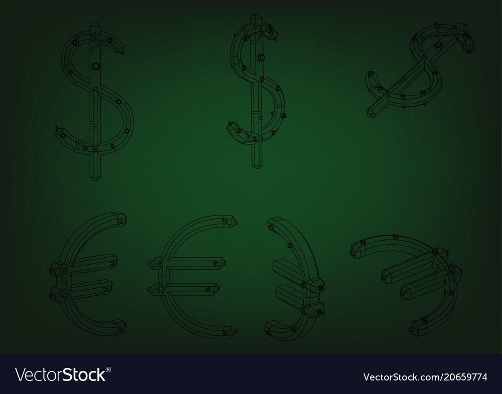 3d model of a dollar and euro vector image