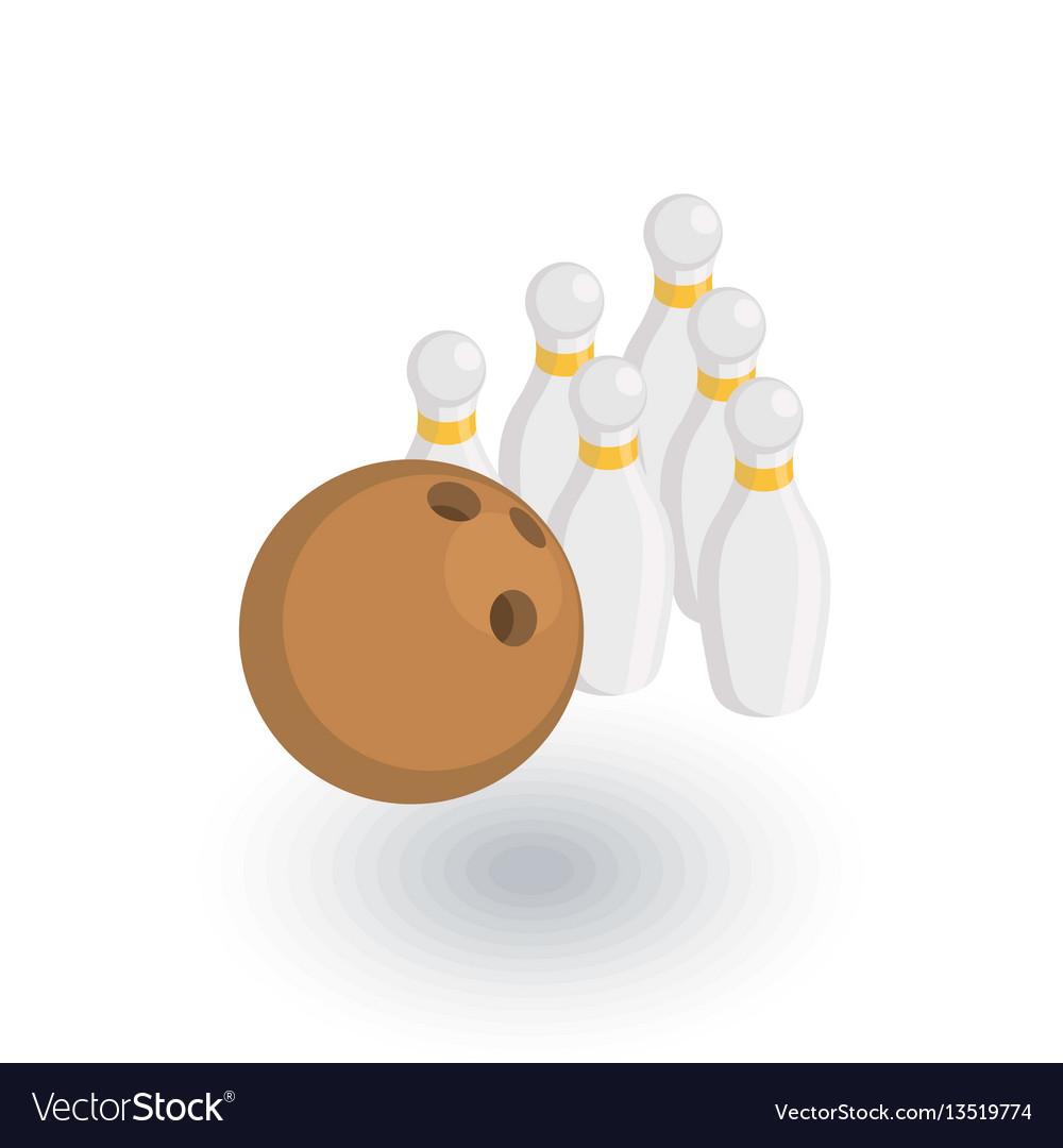 Bowling skittles and ball isometric flat icon 3d vector image