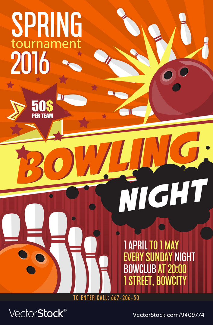 Bowling Tournament Poster Template Design With