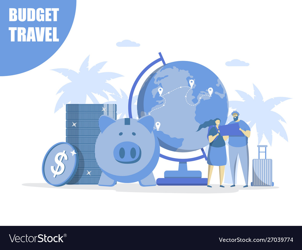 Budget travel concept for web banner