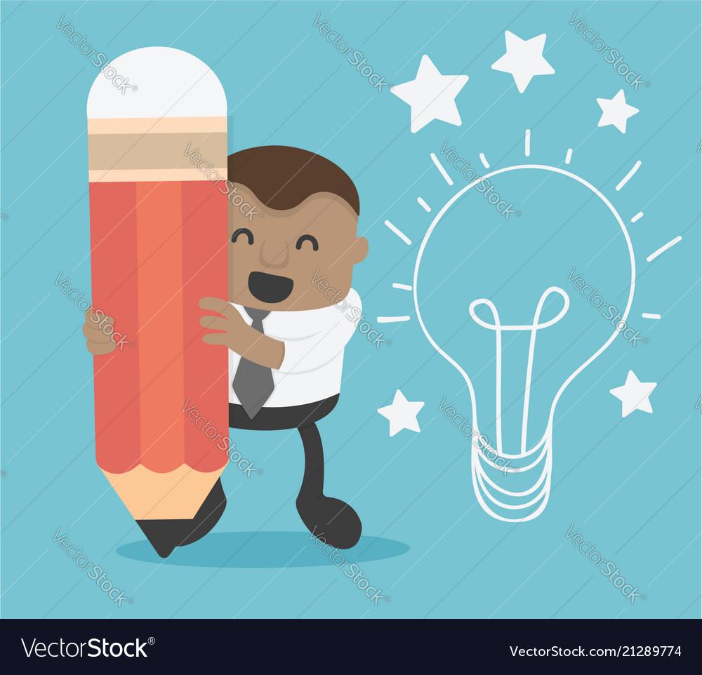 Business concept cartoon african businessman hand