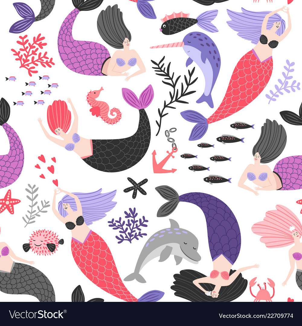 Cartoon mermaids and sea animals pattern